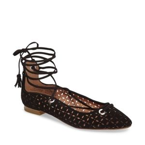Halogen Black Lace Up Flats Sandals Pointed Toe